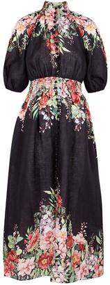 Zimmermann Bellitude Floral-print Linen Midi Dress