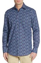 Bugatchi Shaped-Fit Molecule Patterned Sportshirt