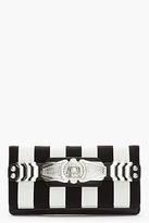 Balmain Black Striped Leather Medallion BiFold Clutch