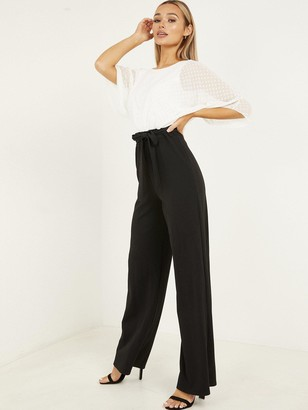 Quiz Scuba Trousers Batwing Dobby Top Jumpsuit - Cream Black