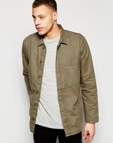 Asos Worker Overshirt In Khaki With Long Sleeves