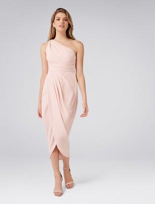 Forever New Mandy Petite One Shoulder Drape Maxi Dress - Nude - 12