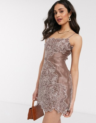 ASOS DESIGN organza mini dress with velvet applique