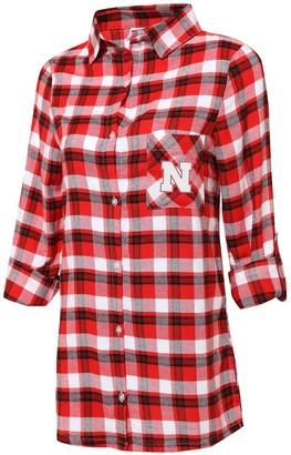 Women's Concepts Sport Scarlet/Black Nebraska Cornhuskers Plus Size Piedmont Flannel Long Sleeve Button-Up Nightshirt