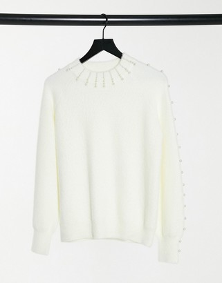 Fashion Union relaxed sweater with pearl embellishment