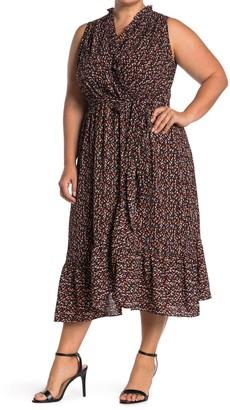 London Times Ditsy Ruffled Sleeveless Wrap Midi Dress