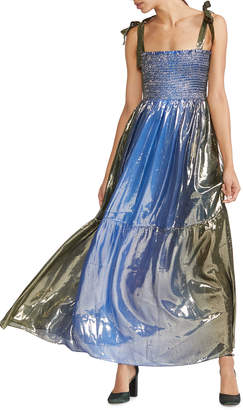 Cynthia Rowley Jade Smocked Silk Lame Long Dress