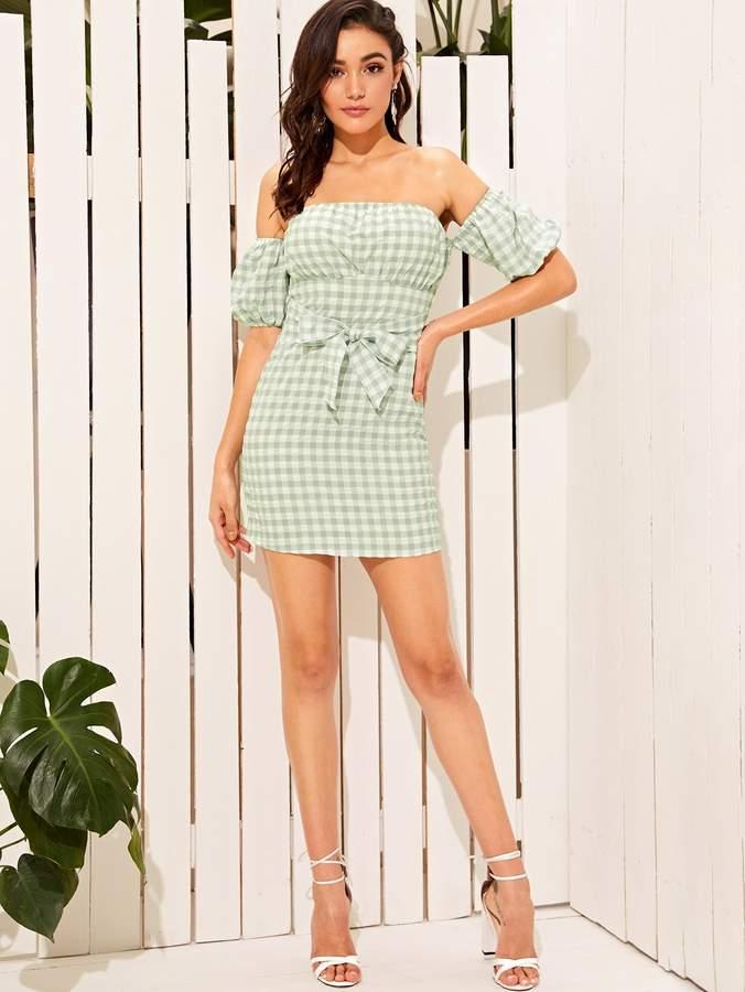 59cbe18eb25 Gingham Off Shoulder Dress - ShopStyle
