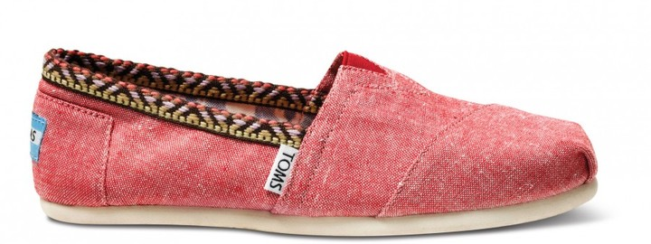 Toms Red chambray trim women's classics