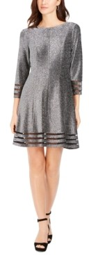 Jessica Howard Petite Metallic Illusion-Trim Dress