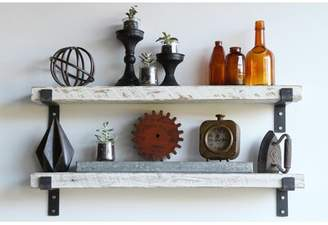 """Williston Forge Brennon Reclaimed Barn Accent Wall Shelf Williston Forge Size: 2"""" H x 24"""" W x 7"""" D, Finish: White Washed"""