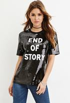 Forever 21 FOREVER 21+ Sequined Story Graphic Top