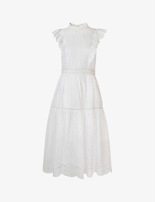 Whistles Ruffle-trimmed broderie-anglaise cotton dress