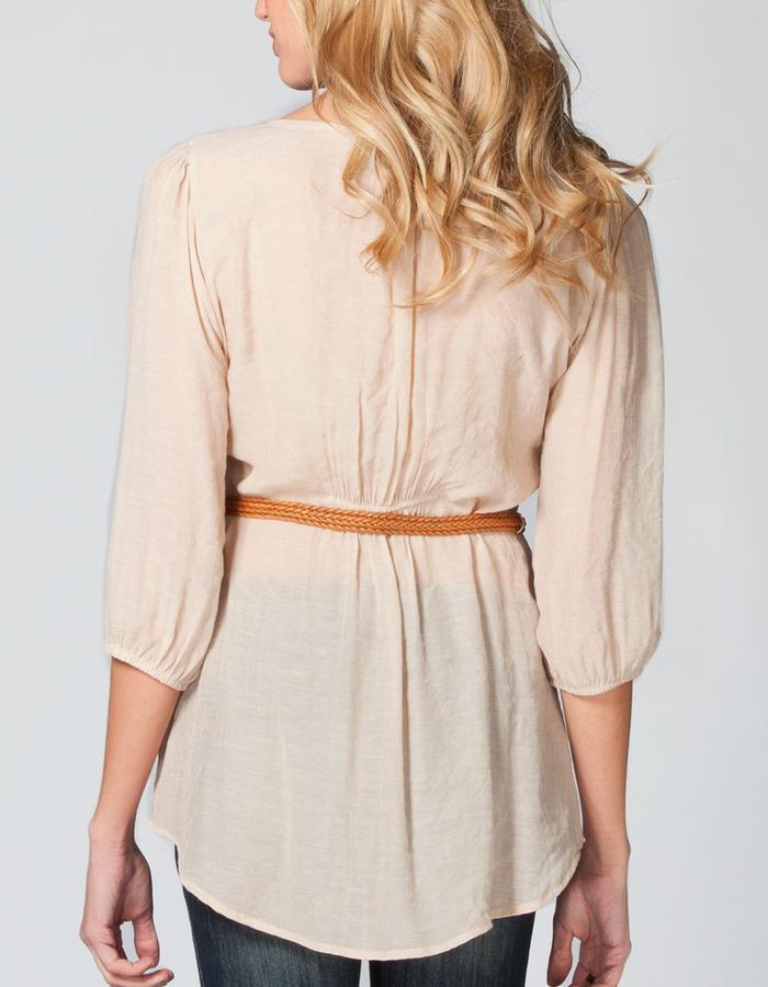 Full Tilt Button Front Womens Tunic