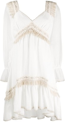 Blumarine Fringed Crochet Detail Dress