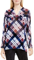 Two by VINCE CAMUTO Plaid Fable Split Neck Tunic