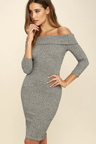 LuLu*s Too Good Grey Off-the-Shoulder Sweater Dress
