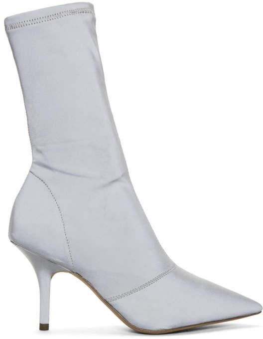 Yeezy Grey Stretch Satin Ankle Boots