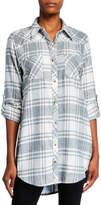 Tolani Tina Plaid Button-Down Tunic with Printed Back