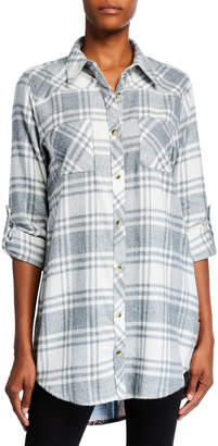 Tolani Tina Plaid Button-Down Tunic with Printed Back