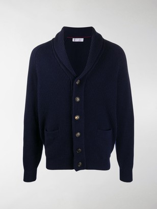 Brunello Cucinelli V-Neck Ribbed Knit Cardigan