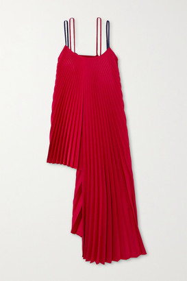 Peter Do Pleated Asymmetric Ribbed-knit And Crepe Top - Red