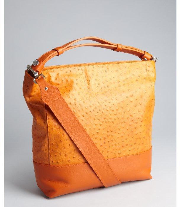 Furla mandarin ostrich embossed leather 'Charlotte' large hobo