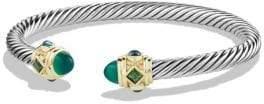 David Yurman Bracelet with Green Onyx, Chrome Diopside, Hampton Blue Topaz and 14K Gold
