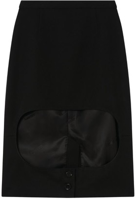 Burberry High-Low Wool Skirt