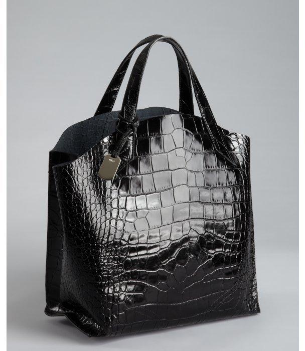 Furla black croc embossed leather 'Jucca' shopper tote