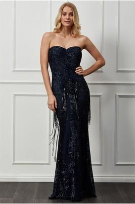 Goddiva Sweetheart Sequin Fringe Maxi Dress - Navy