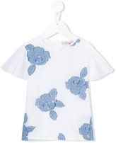 Miss Blumarine floral embroidered top - kids - Cotton/Elastodiene/Polyester - 6 yrs