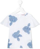 Miss Blumarine floral embroidered top - kids - Cotton/Elastodiene/Polyester - 6 yrs