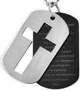FINE JEWELRY Stainless Steel Lords Prayer & Cross Dog Tags