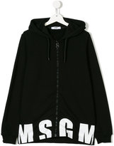 MSGM logo zip hooded sweatshirt