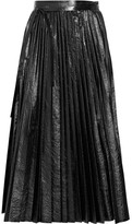Valentino Pleated Cracked-leather Wrap Skirt - Black