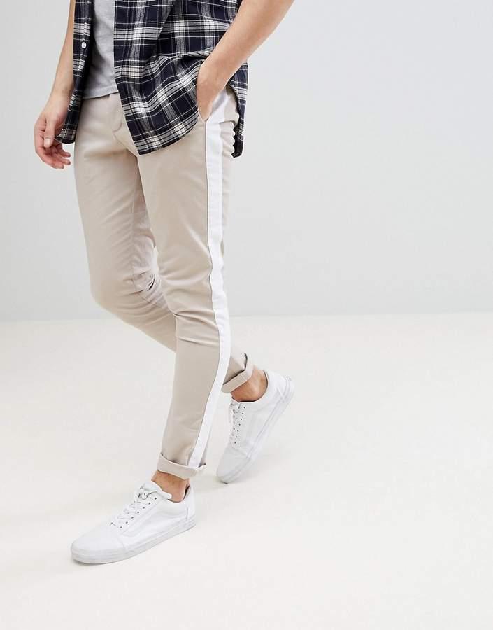 Asos Super Skinny Pants In Mushroom With White Side Stripe