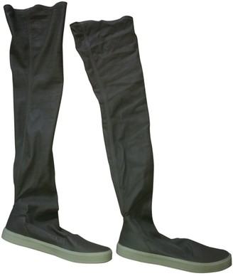 Rick Owens Grey Leather Boots