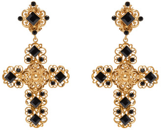 Dolce & Gabbana Gold Clip-On Cross Earrings