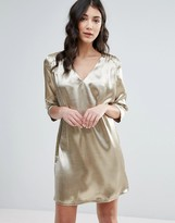 Traffic People 3/4 Sleeve Satin Shift Dress