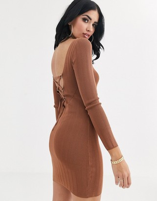 Asos Design DESIGN lace up detail long sleeve mini dress in structured knit-Brown