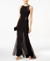 Xscape Evenings Illusion Lace-Trim Mermaid Gown