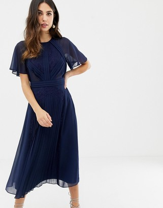 Asos DESIGN pleated paneled flutter sleeve midi dress with lace inserts
