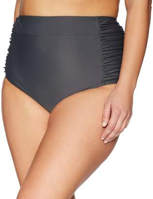 Coastal Blue Women's Plus Size High Waist Shirred Side Bikini Bottom