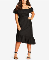 City Chic Trendy Plus Size Cotton Asymmetrical Off-The-Shoulder Dress