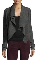 Elie Tahari Iliana Draped Asymmetric Wool-Blend Sweater, Light Gray Melange