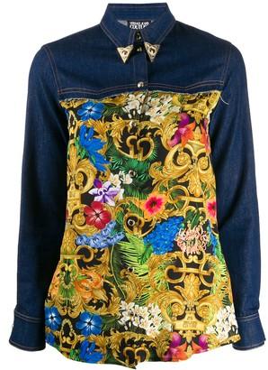 Versace baroque-print denim shirt