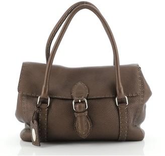 Fendi Selleria Linda Satchel Pebbled Leather Medium