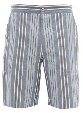 P. Le Moult - Low-cut Striped Cotton-twill Pyjama Shorts - Mens - Blue Multi