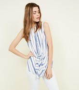 New Look Stripe Knot Front Sleeveless Shirt